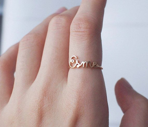 NAME RING - FONT F63 You can have your own name personalized on this ring.  * Maximum number of character: 10 * The name is 2.5mm-9mm high. *