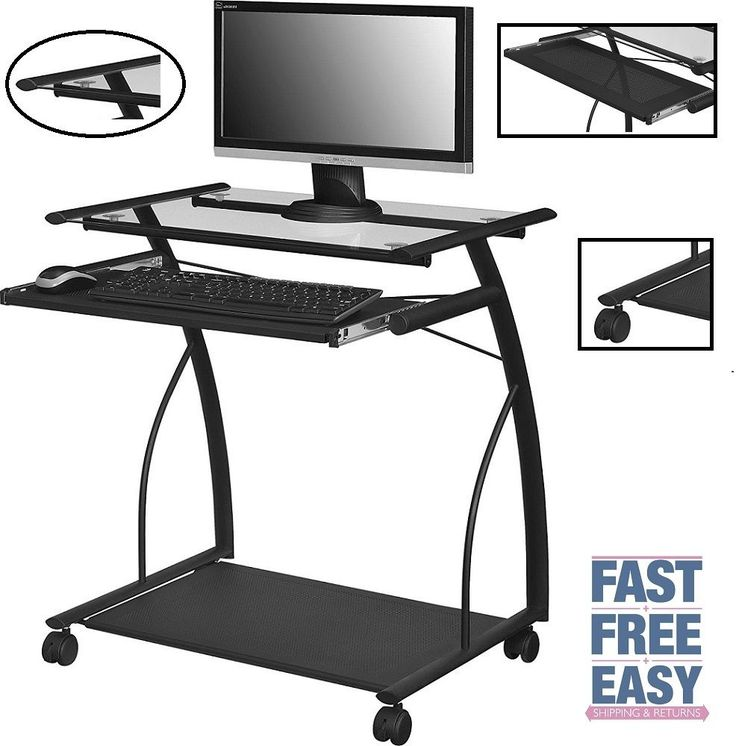 Rolling Computer Table Desk Laptop Pc Glass Stand Portable Wheels Home Office #RollingComputerTable #ModernIndustrial