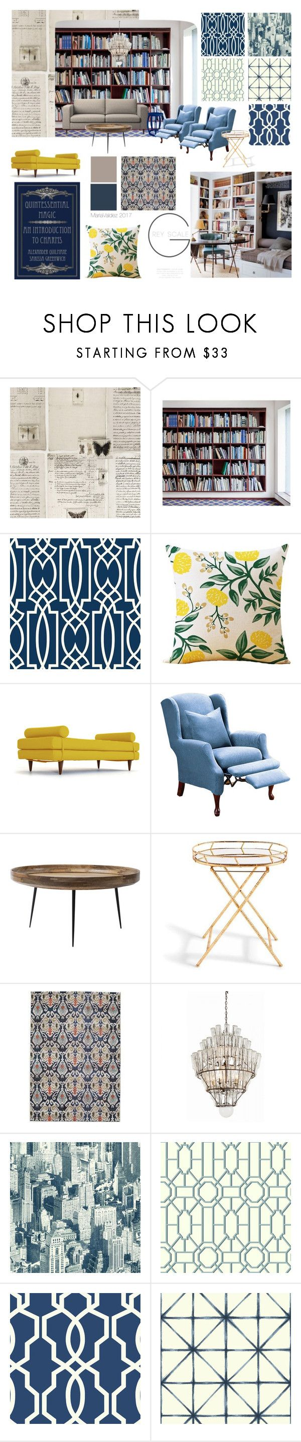 """MB:4"" by maria-jose-valdez on Polyvore featuring interior, interiors, interior design, home, home decor, interior decorating, WALL, York Wallcoverings, Joybird and Bungalow 5"