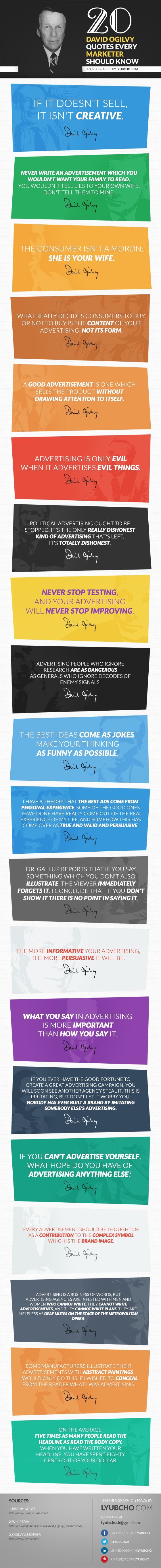 20 David Ogilvy Quotes Every Marketer Should Know / #INFOGRAPHIC