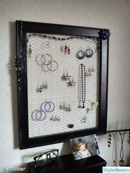 Smyckesförvaring,diy,svart ram,örhängen