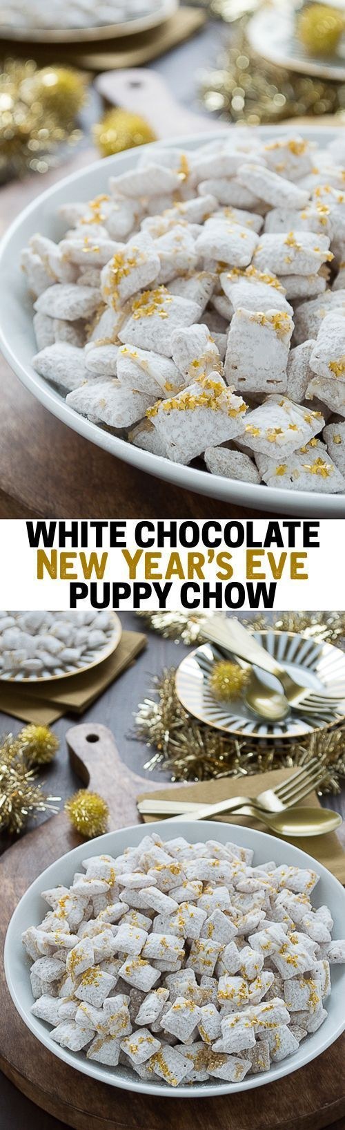 Easy white chocolate puppy chow with gold sprinkles and edible gold stars! This is perfect to make for New Year's Eve!