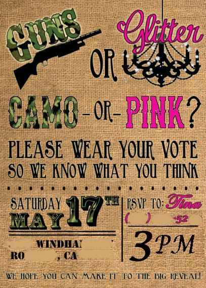 Definitely doing this when i have a baby!! Guns or Glitter Camo baby reveal invitation on Etsy, $1.25