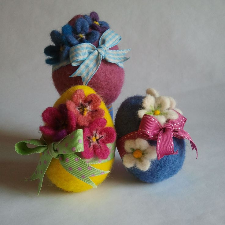 Needle Felted Easter Eggs and @Jane Izard Izard Means ribbons - Sew Recycled