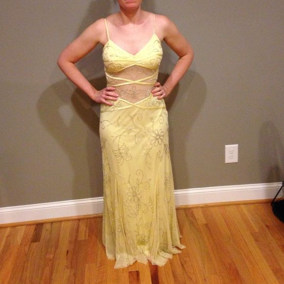 Yellow prom dress Beautiful yellow prom dress with sheer stomach, and sequins all over prom dress! Dresses Prom