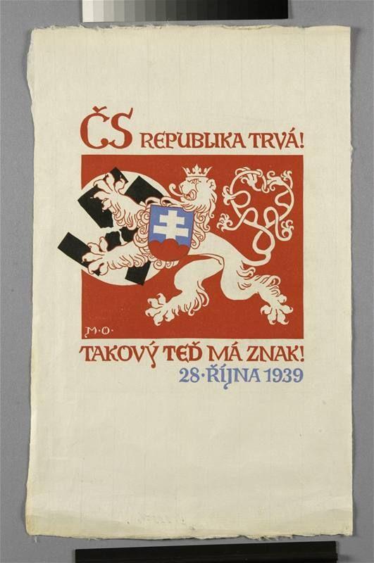 Vojtěch Preissig - ČS republika trvá! Takový teď má znak (1939) - linoryt, 49 x 30,5 cm