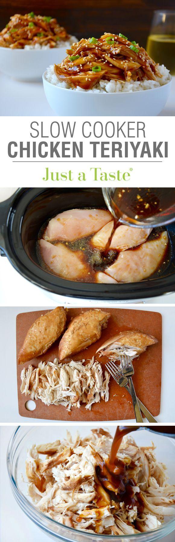 Slow Cooker Pulled Chicken Teriyaki Recipe via justataste.com | The ultimate easy dinner recipe!