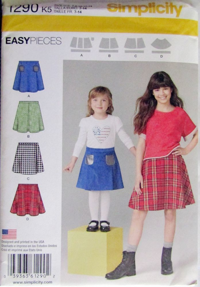 Simplicity 1290 Girls/' Set of Skirts   Sewing Pattern