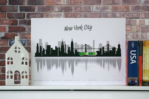 Minimalist NEW YORK City poster, city scape, wall decor, poster, New York boroughs, typography, A3, Central Park, nyc