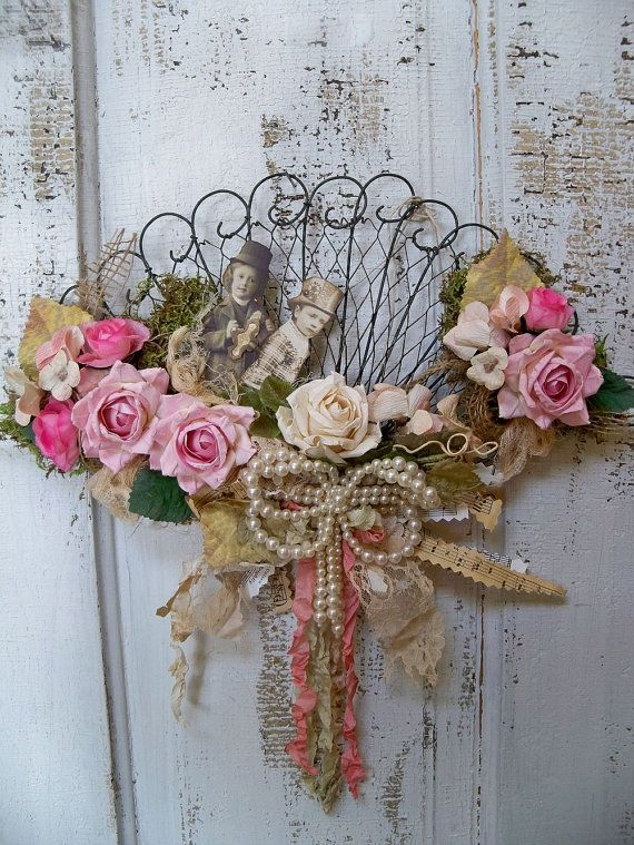 Shabby chic Victorian fan decorated wall decor