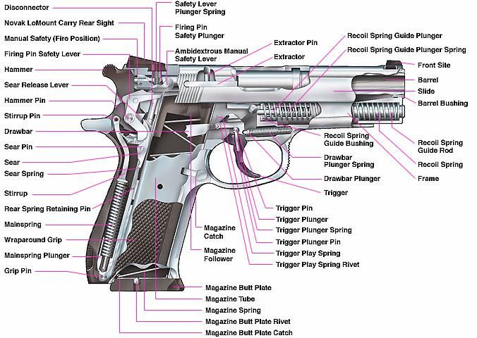 1911 side view of parts in place | Here is a picture of the internal workings of a standardsemi-automatic ...