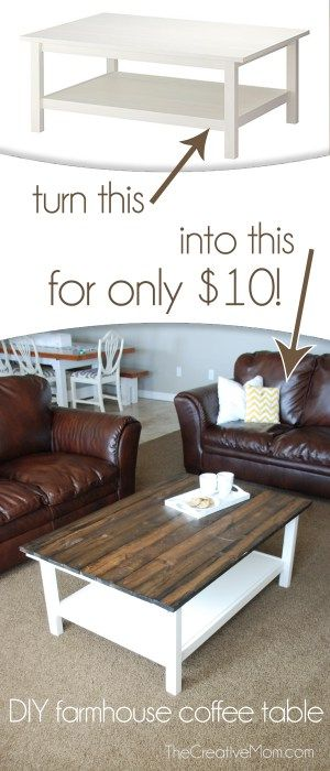 DIY Farmhouse Coffee Table (Ikea Hack) http://www.thecreativemom.com/diy-farmhouse-coffee-table-ikea-hack/