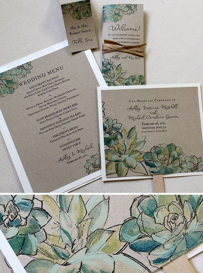 cute wedding card ideas%0A Green and Blue  Succulent Watercolor Wedding Invitations