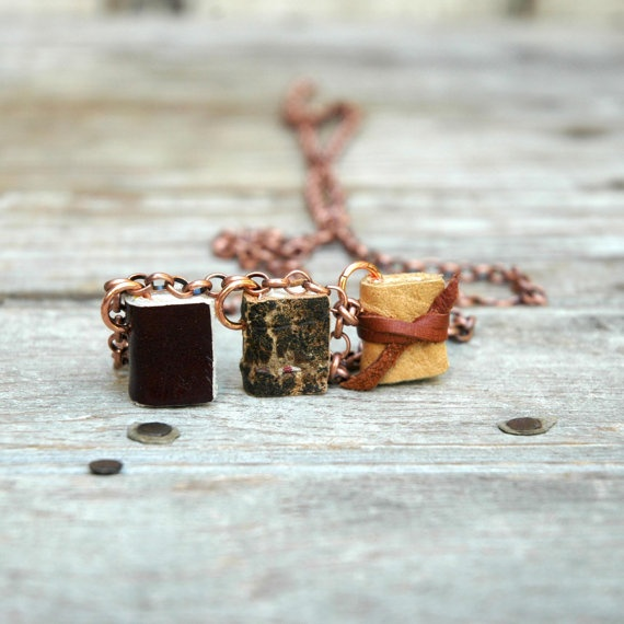beautiful hand bound book necklaces