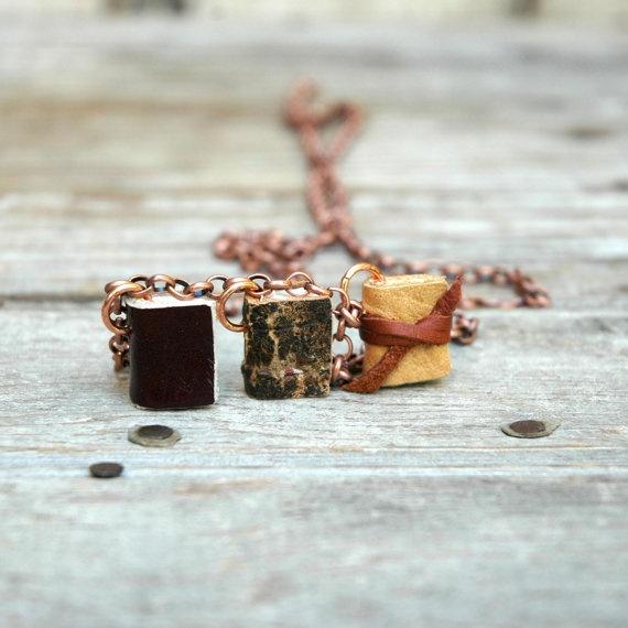 Aceste trei cărţi miniaturale au fost realizate manual din materiale vechi peste care timpul şi-a lăsat amprenta. Aceste cărţi pe cât sunt de mici pe atât pot fi de încăpătoare. Dacă doreşti să faci un cadou deosebit poţi tipări trei cărţi îni miniatură, să le integrezi la acest pandantiv şi să îl faci cadou acelei persoane dragi ţie.