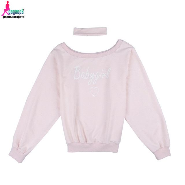 Gagaopt Women Sweatshirt with Choker Halter Sexy Off the Shoulder Letter Printed Pink Pullovers Camisola American Apparel