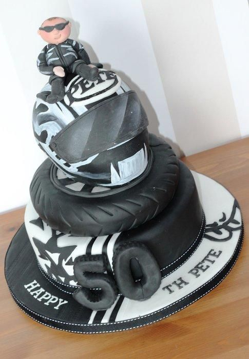 Motor bike 50th black and white by Zoe's Fancy Cakes, who also has a You Tube channel, check out her fb page! they are fab :)