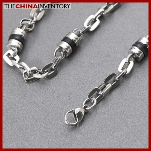 NEW 21 3/4` STAINLESS STEEL CYLINDRICAL RUBBER LINK NECKLACE N5009A