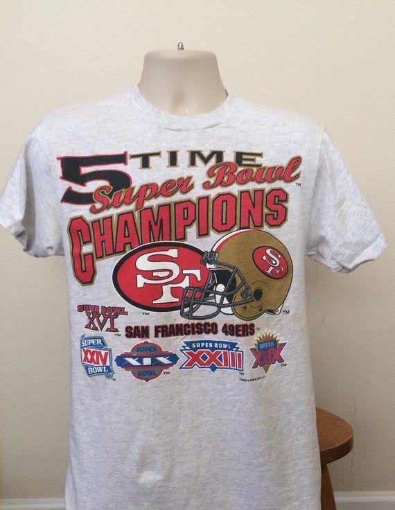 f46c8221ea6 SOLD Vintage 1995 Super Bowl Champions T shirt San Francisco 49ers Men s  Small   Women s Medium Memorabilia Souvenir