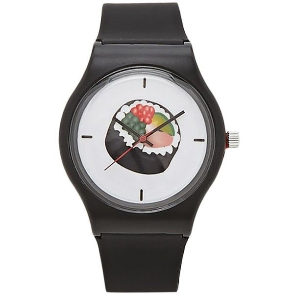 Forever21 Sushi Graphic Analog Watch (€12) ❤ liked on Polyvore featuring jewelry, watches, black, analog watches, analogue watch, analog watch, forever 21 watches and dial watches