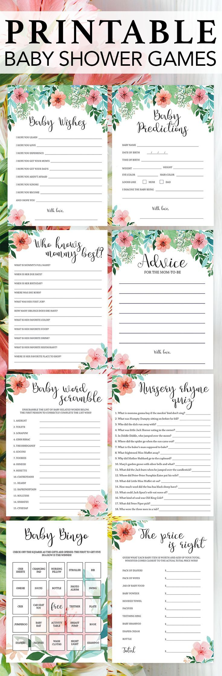 Printable baby shower games by LittleSizzle. Click through to instantly download your unique floral baby shower games or re-pin for later! Floral themed baby shower ideas. Popular floral baby shower games to entertain large groups. Printable floral games for baby shower. It's a girl baby shower games to print at home. #babyshowergames #babyshowerideas #printable #printablegames #DIY #instantdownload #gamespack #floralshower
