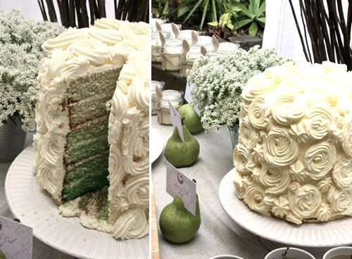 elegant rustic perfect pair twins baby shower in sage pear green ombre cake with frosting rose swirls