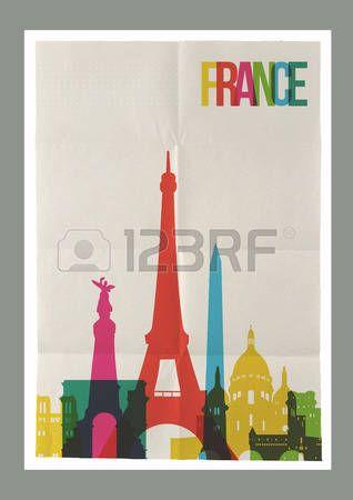 Путешествия Франция знаменитые достопримечательности Skyline на старинных листа бумаги плакат дизайн фона. Вектор организованы в слоях для удобного создать свой собственный открытки, брошюры или маркетинговой кампании. photo