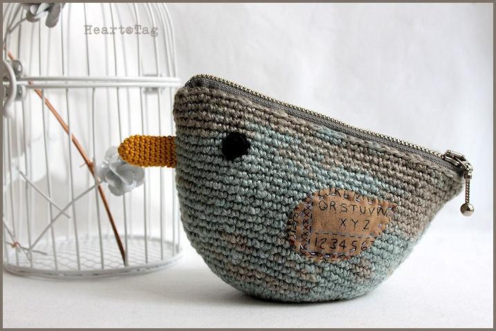 Crocheted bird linen yarn pouch, smoky blue gray colors, everyday use. €20.00, via Etsy.