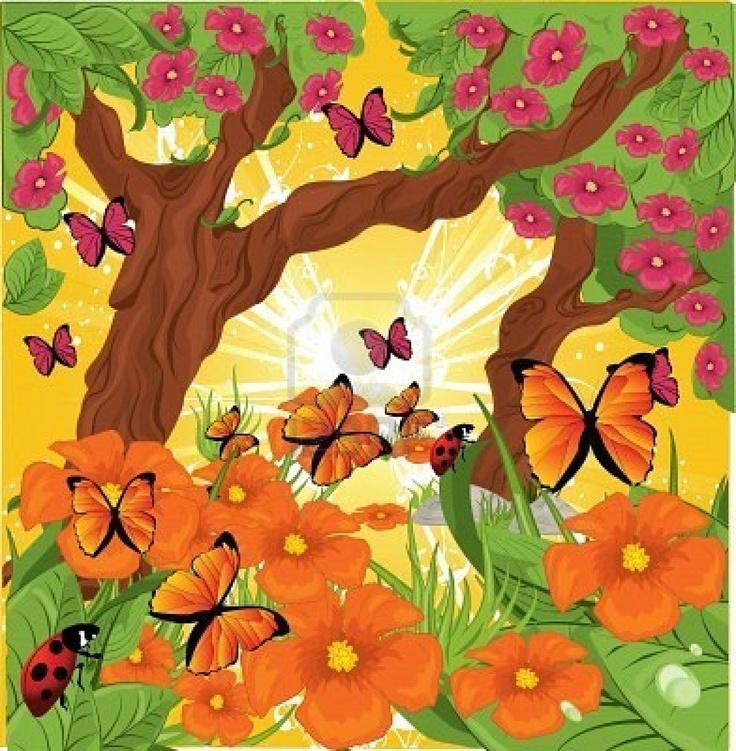 fondo bosque, mariposas, flores