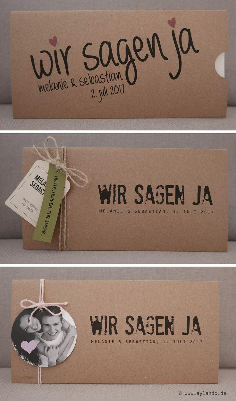Hochzeitskarte Kraftpapier / Kraft wedding invitation