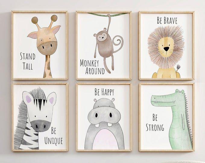 Baby Animal Nursery Wall Art Print Printable Watercolor Animal Art