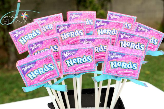 Fabulous Nerds on a stick for a bookworm party