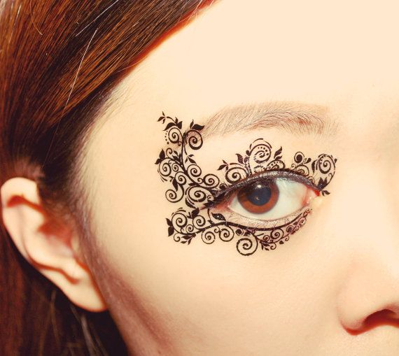 Temporary Tattoo  Eye Makeup applique Eyeshadow Flower Mask Masquerade Color Guard bridemaid gift christmas stocking stuffer accessories