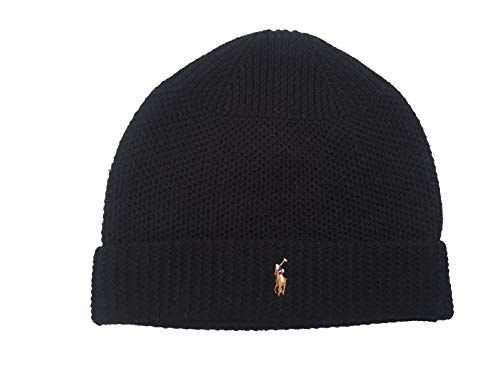 9d7385eb437 Polo Ralph Lauren Mens Waffle Knit Merino Wool Hat (Black(PP0017-001 ...