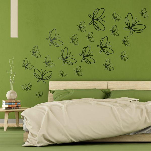 Adesivi murali: Kit 23 farfalle. Adesivi murali bambini a kit. #adesivimurali #decorazione #modelli #mosaico #farfalle #StickersMurali