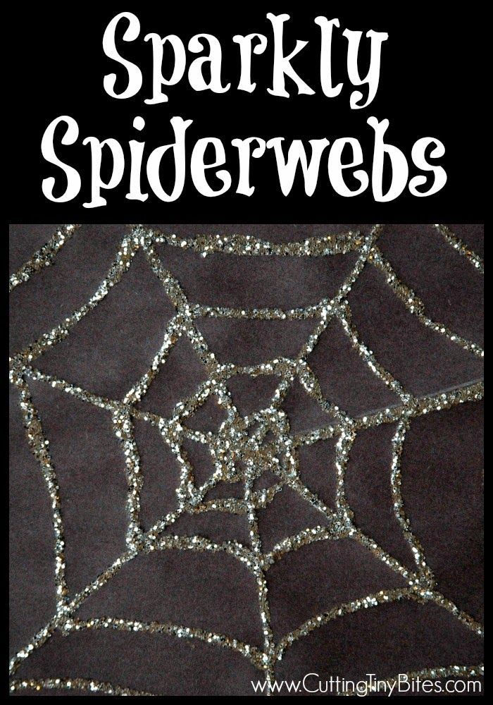 Sparkly Spiderwebs.  EASY Halloween craft for preschoolers.