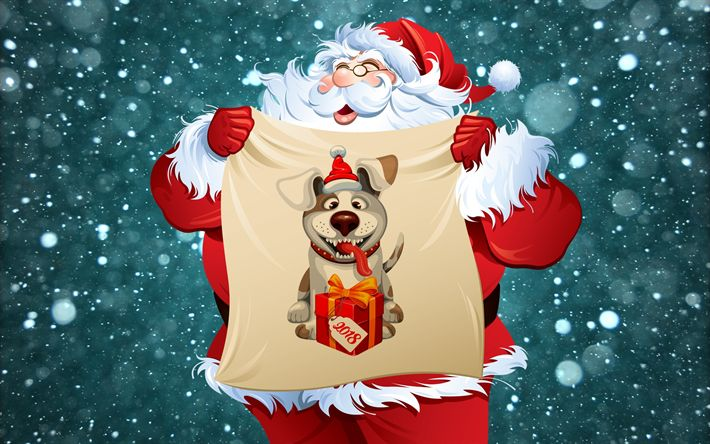 Download wallpapers Santa Claus, Happy New Year 2018, year of dog, Christmas 2018, creative, New Year 2018, xmas, Christmas
