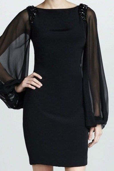 Stylish Round Neck Long Sleeve Beaded Slimming Dress For Women
