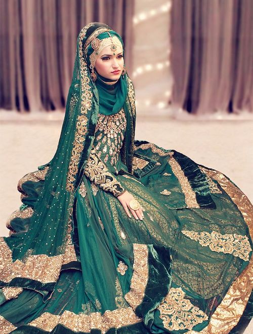 South Asian Bride, wearing the head scarf, hijabi bride, green bridal lengha