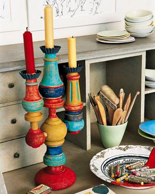 Piedi e cipolle di vecchi armadi, credenze e poltrone possono diventare un originale candelabro... di design!