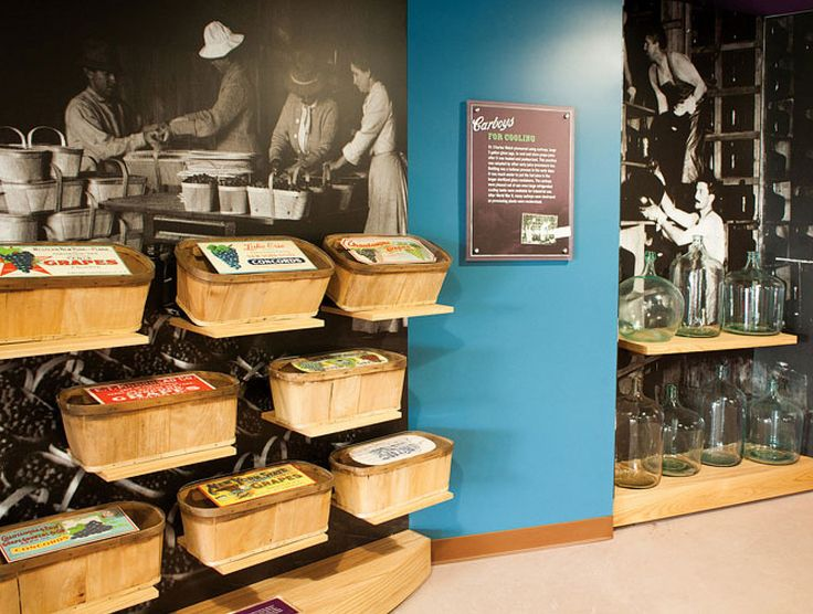 https://flic.kr/p/oYhJFy | Grape Baskets | Examples of interactive exhibits and environments developed in collaboration with the Gecko Group for The Grape Discovery Center in Westfield, NY.  In this case, a display of baskets used to safely transport grapes.