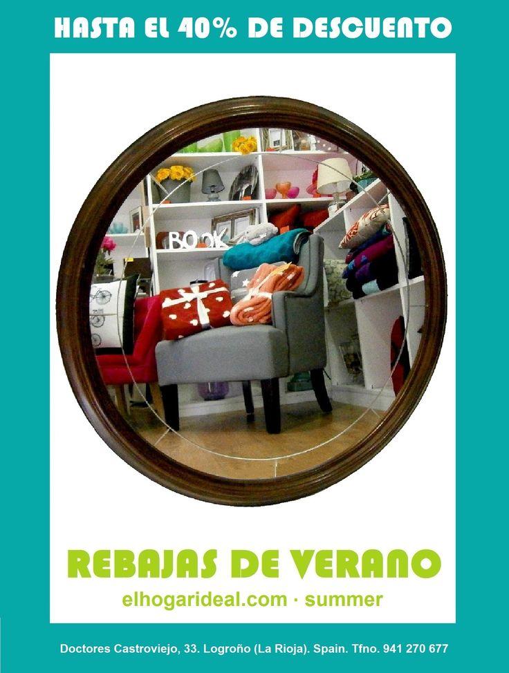Decoracion online, el hogar ideal, rebajas 46, espejo de madera redondo vintage. elhogarideal.com