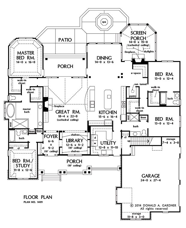 NOW AVAILABLE: Family-Friendly Craftsman Design 1409! Unique, open library with built-in bookshelves. Oversized utility room with a view and outdoor access. Completely open kitchen with center island. See it on our #House #Plans #Blog http://houseplansblog.dongardner.com/now-available-family-friendly-craftsman-design-1409/