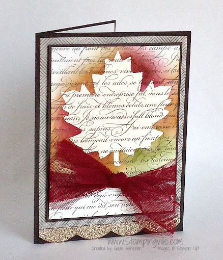 Stunning Autumn Leaf En Francais Card...themed card with emboss resist technique.  By Gayle Wheeler - Stampingville.