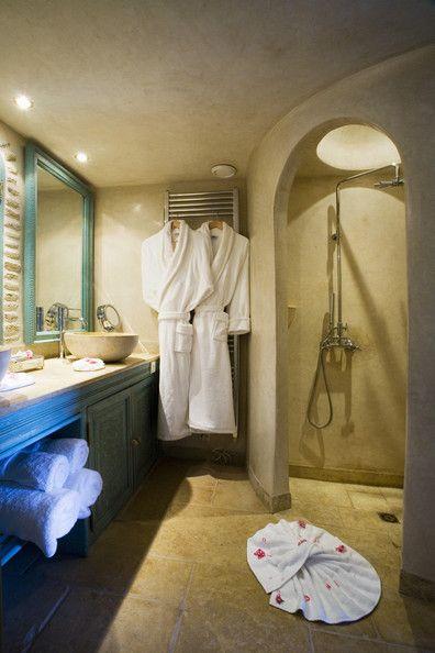 Beige Mediterranean-Modern Bathroom - Modern Bathrooms - Lonny Corner shower