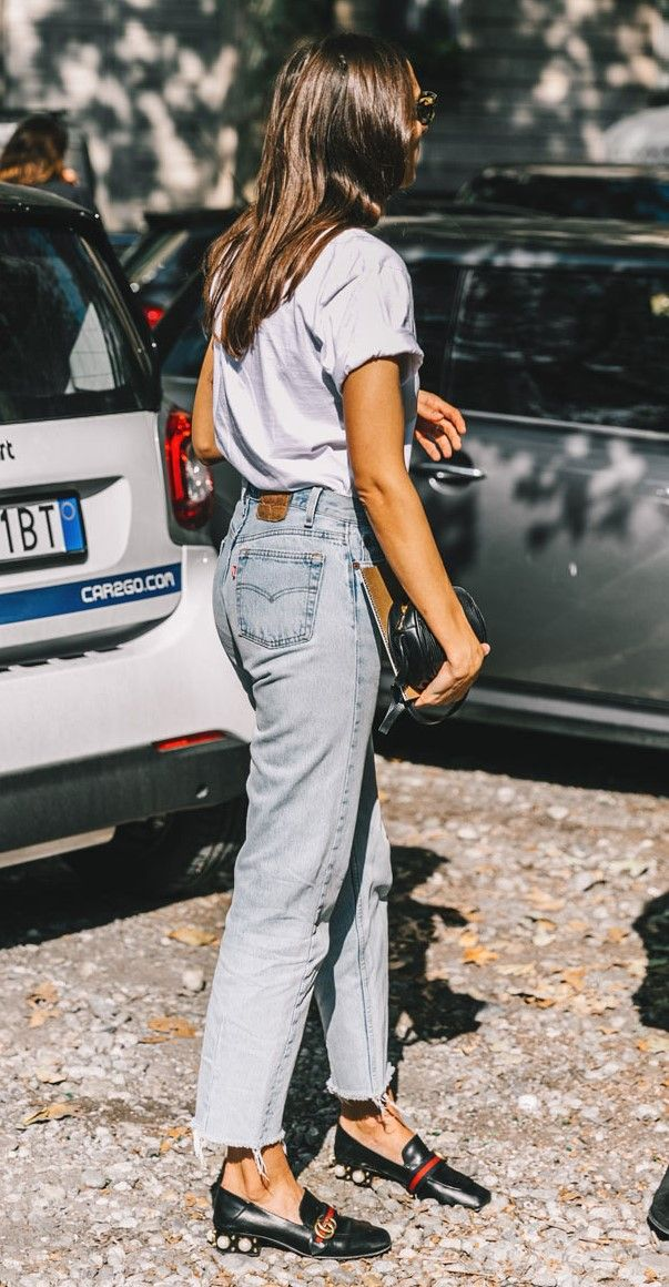 Street Style_ light blue outfitting with statement healed shoes || Saved by Gabby Fincham ||