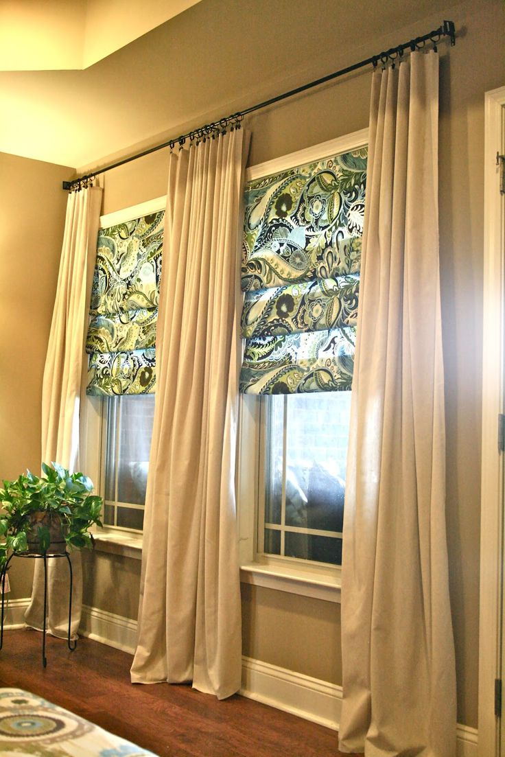 DIY Living Room Curtains {No Sew} - And {No Sew} Faux Roman shades From Rachel @ Thrifty Inspirations ... I love the way they puddle slightly on the floor....