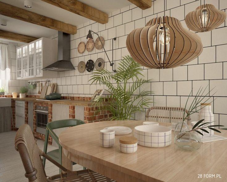 Szafki z cegieł w kuchni i drewniany stół w jadalni - Lovingit.pl