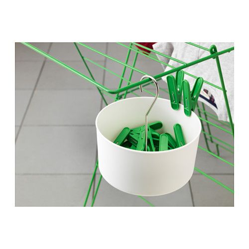 TORKIS Clothes pin bag & 30 clothes pins, indoor/outdoor white white, green