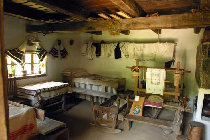 The interior of one of the 30 houses in the Village Museum (Muzeul Satului) in Baia Mare, Romania